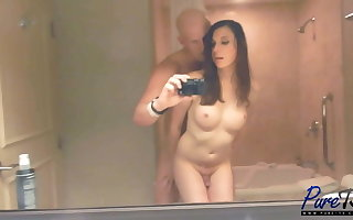 Amateur TS babe Mackenzie Rae gets fucked in the mirror
