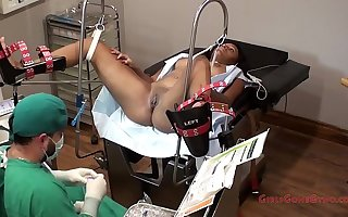 Tori Sanchez - Tampa University Physical Exam - Part 7 of 8 - Busty ebony gets examined by doctor and forced to orgasm while spread eagle in the stirrups