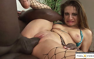 Incredibly sexy milf not far from fishnets fucked not far from interracial sex