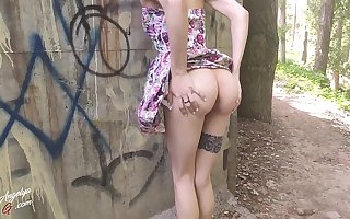 Sweet Babe yon Cute Dress Sucking Dick Outdoor - Cum on Tits