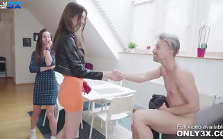 Slender babe Lina Luxa has DP threesome with Mike Angelo
