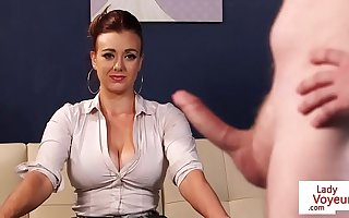 Busty CFNM office cougar gives JOI upon sub impoverish