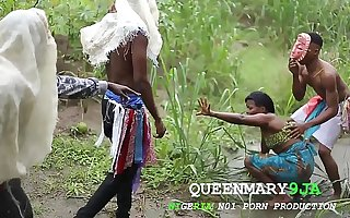Somewhere in Africa, a maiden who went to the farm on a village's cultural make obsolete got fucked inhumanly by three masquerades