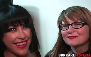 Big titted Isla Skye suck dicks at interracial bukkake party