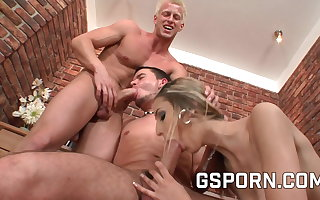 Bisexual threesome with team a few hot guys and a sexy milf