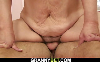Hairy-pussy, old blonde granny rides his dick