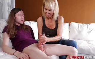 PORNSTARPLATINUM, Blonde Erica Lauren Jerks Off Stepson's Cock
