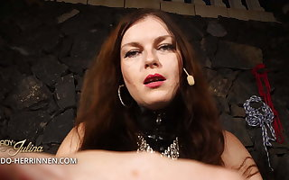 Enhance Lady Julina's latex slave and strapon sucker