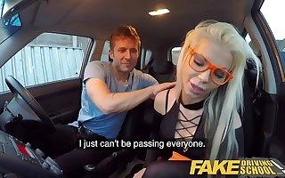Fake Driving School Blonde bombshell Barbie Sins Taken for a Fuck Ride prairie lingerie