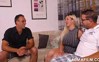 Chesty blonde Manu Magnum gets cum on her ass