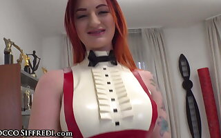 Hot Redhead to Latex Zara DuRose Offers a Solo Anal Casting