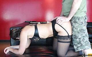 MILF in hide out undergarments sucks big cock added to gets fucked
