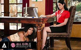 AllGirlMassage - Alex Coal Has Her Pussy Soaked During A Meeting