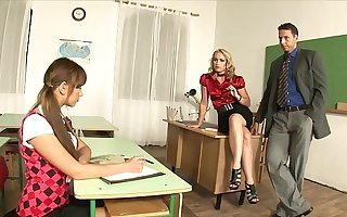 Charming Teacher Cathy Campbell calls the principal to discipline schoolgirl and they have a hot triad