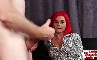 Firey redheaded voyeur babe humiliates unearth
