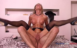 French Victorian old MILF Marina Beaulieu inch a descend anal