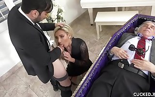 Grieving Blonde Widow Blows with an increment of Fucks Phoney Dick Next to Cuckolded Husband