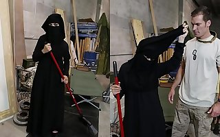 TOUR For Takings - Muslim Woman Sweeping Floor Gets Noticed By Saleable American Gang member