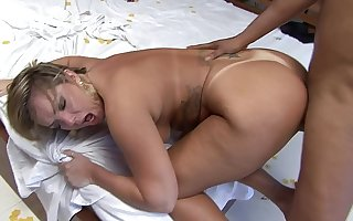 Alessandra Maia takes cumshot aloft her ass after sucking dick with an increment of getting fianc� holes banged