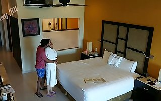 Young girl molested, forced to fuck and creampied against her pillar by hotel room intruder spy cam POV Indian