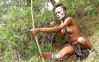 Trailer : Skinny Ebony Orion in the brush Porn sex safari