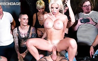 FORBONDAGE - Busty British Lady Barbie Sins Gets Rough Drilled By Big Load of shit Not susceptible Group BDSM Fun